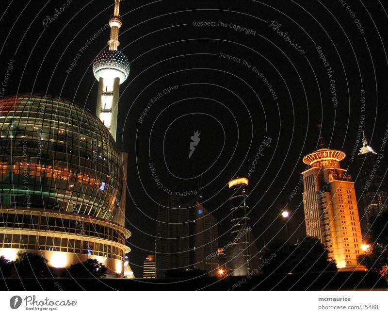 shanghai night Architektur Erfolg Kugel Fernsehturm Shanghai Pu Dong Moderne Architektur