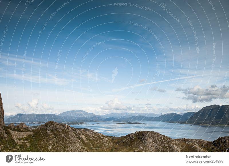 Nordisch kühl Himmel Natur blau Ferien & Urlaub & Reisen Meer Ferne Freiheit Landschaft Berge u. Gebirge wandern Insel Klima Urelemente bizarr Fernweh