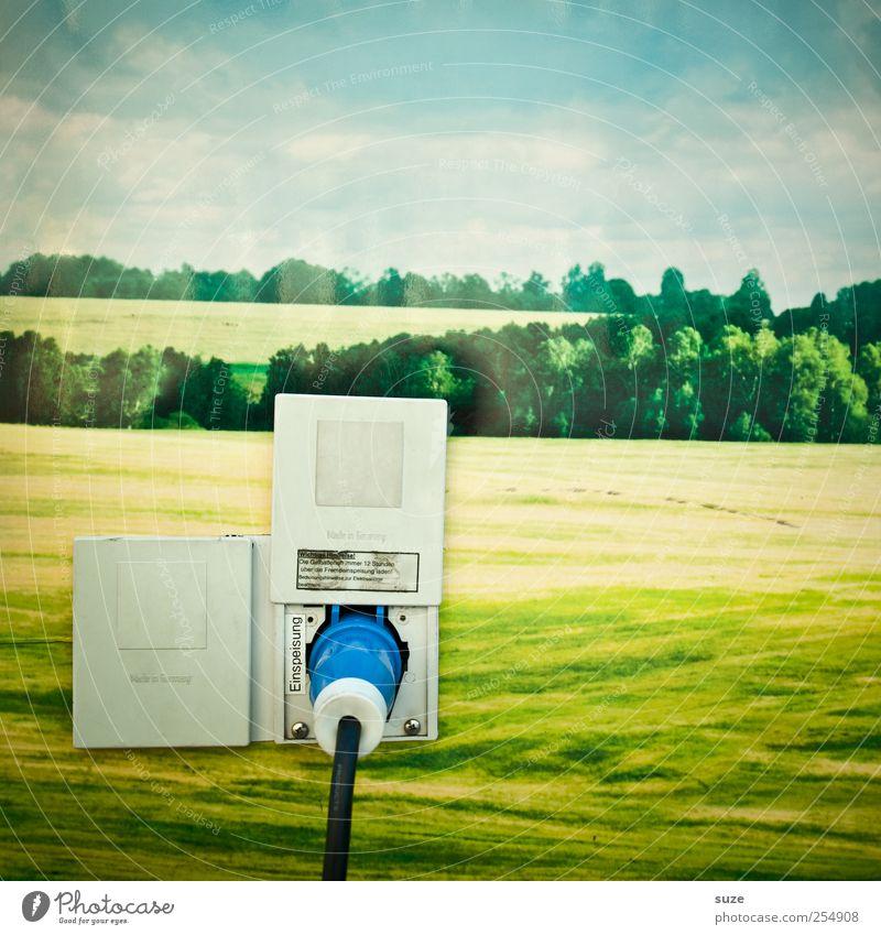 Ökostrom Energiewirtschaft Kabel Erneuerbare Energie Umwelt Natur Landschaft Himmel Wolken Klima Klimawandel Wiese lustig grün Elektrizität ökologisch