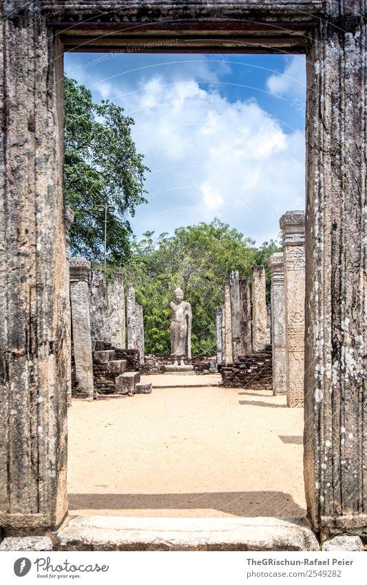 Tempel Bauwerk alt Denkmal Sri Lanka Statue Polonnaruwa königlicher Palast Säule Stein Kultur Ferien & Urlaub & Reisen entdecken Farbfoto Menschenleer