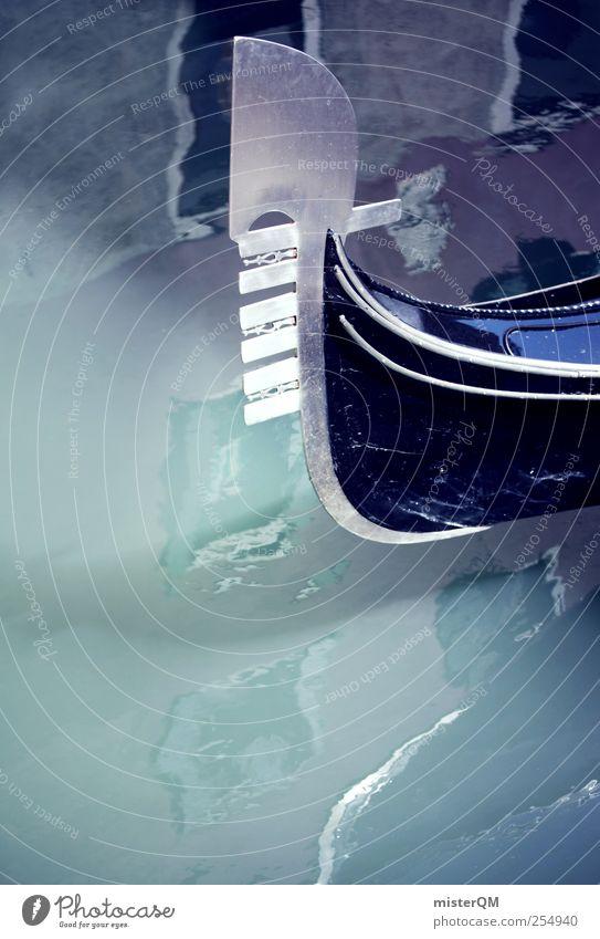 Venice Blue. blau Stil Kunst Wasserfahrzeug ästhetisch Romantik Italien Wahrzeichen Venedig dezent Gewässer Kanal Gondel (Boot) Kahn Italienisch Schiffsrumpf