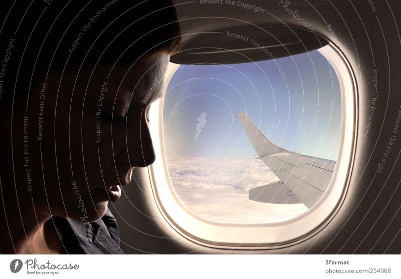 FLUGPLAN feminin Junge Frau Jugendliche Erwachsene Kopf Gesicht 1 Mensch 18-30 Jahre 30-45 Jahre Luft Himmel Wolken Schönes Wetter Luftverkehr Flugzeug