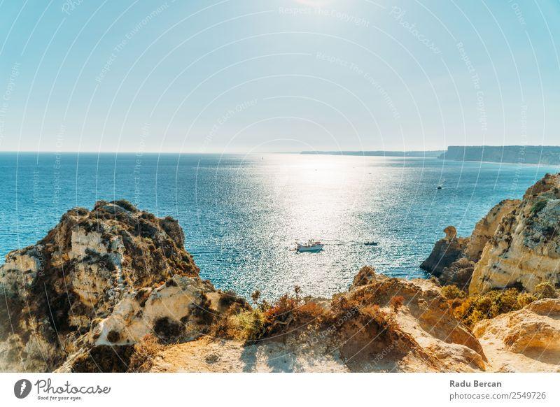Wunderschöne Bay Rocky Landschaft in der Stadt Lagos, Portugal Erholung Ferien & Urlaub & Reisen Tourismus Ausflug Abenteuer Ferne Freiheit Kreuzfahrt Sommer