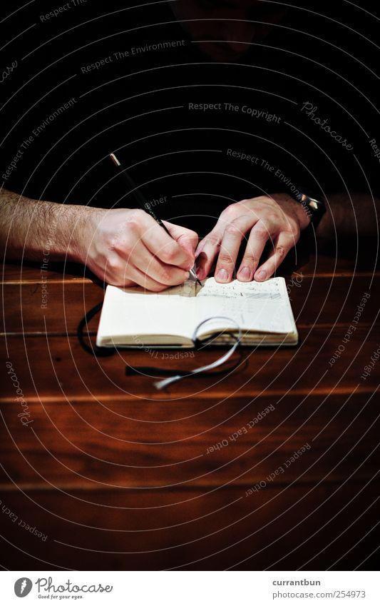 gotta knock a little harder Schriftzeichen Ziffern & Zahlen Kreativität programmieren Programmiersprache Hand Handy Schreibstift Holz Papier braun Bleistift Uhr
