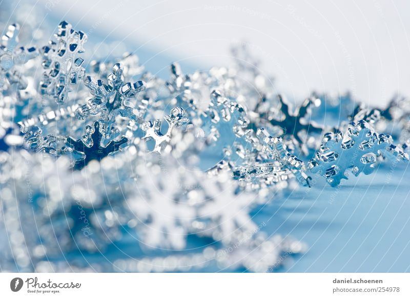 Weihnachtskarte - indoor Häusliches Leben Dekoration & Verzierung Weihnachten & Advent Kristalle hell blau Schneekristall Stern silber Studioaufnahme