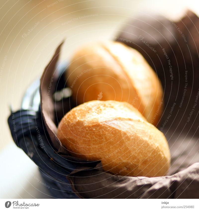 guten Morgen! Brötchen Ernährung Frühstück Brötchenkorb Korb Häusliches Leben liegen frisch lecker braun Gastfreundschaft Idylle 2 normal hellbraun knusprig