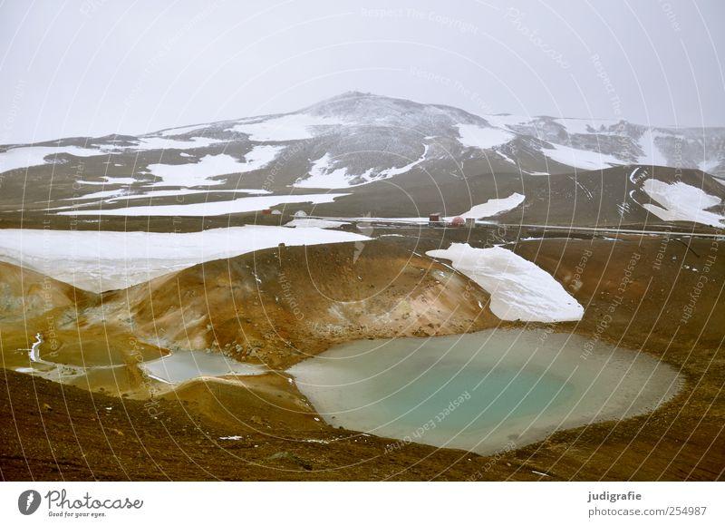 Island Umwelt Natur Landschaft Urelemente Erde Wasser Klima Eis Frost Schnee Hügel Berge u. Gebirge Schneebedeckte Gipfel Vulkan kalt natürlich wild