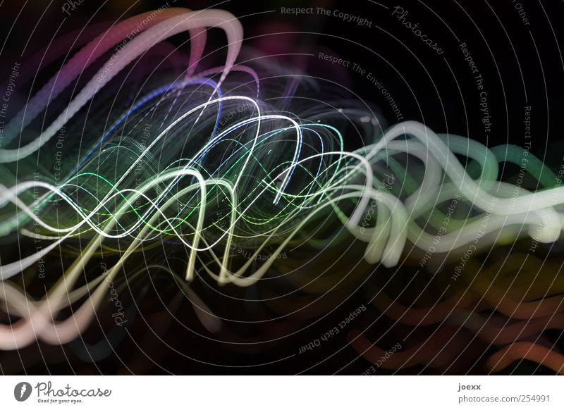 Gedanken blau weiß grün schwarz Bewegung Linie Kunst Energie leuchten violett Inspiration Lichtspiel Lichtstrahl Leuchtspur