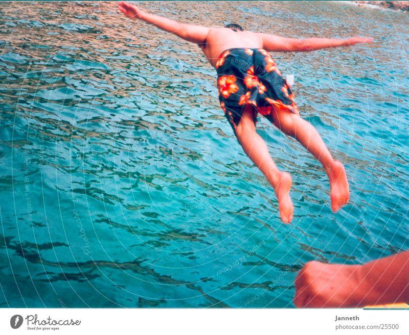 Kopfsprung Mann Sonne Meer Sommer Freude Ferien & Urlaub & Reisen springen