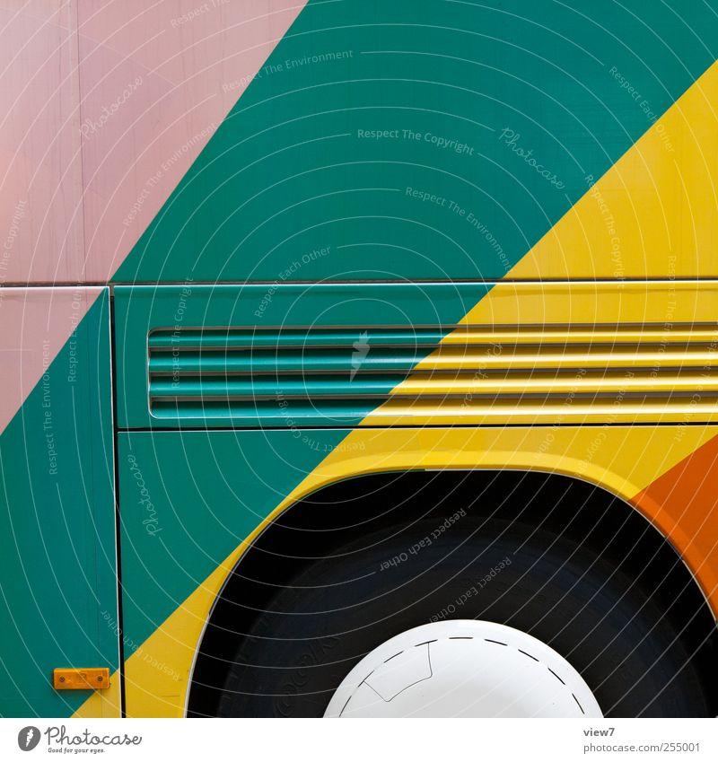 colored vehicel Güterverkehr & Logistik Verkehr Verkehrsmittel Personenverkehr Busfahren Fahrzeug Reisebus Linie Streifen authentisch einfach Fröhlichkeit