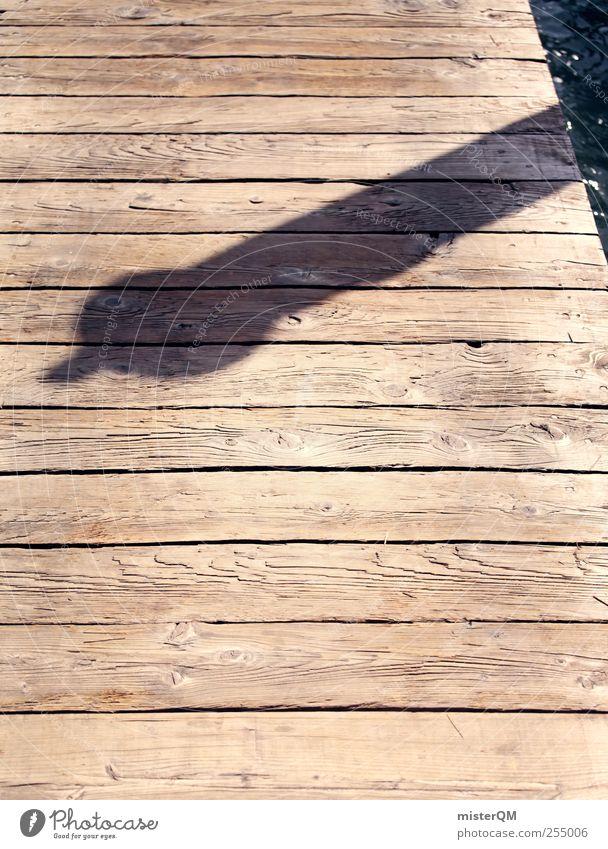 Venedig, du Schwein! Kunst ästhetisch Steg Anlegestelle Holz Meer Küste Schatten anstößig Mittag Penis Spitze Perspektive Farbfoto Gedeckte Farben Außenaufnahme