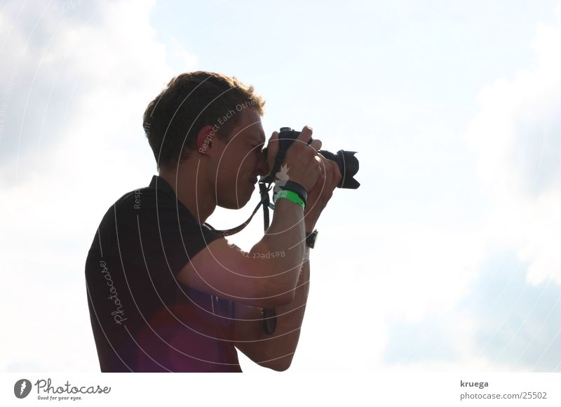 Schuss ins Blaue Fotograf Wolken Medien Sonne Fotokamera Fotografie