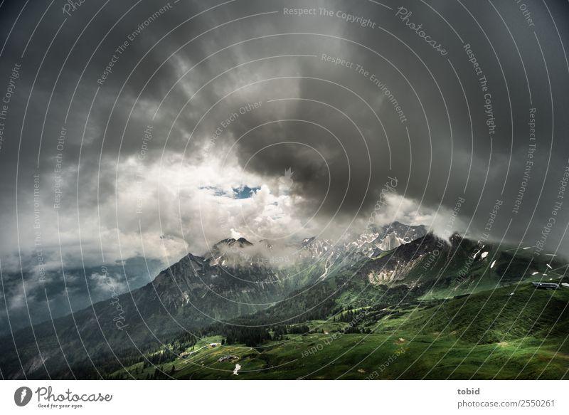 Gewitterwolken in den Alpen Himmel Natur Pflanze Landschaft Einsamkeit Wolken Wald Ferne Berge u. Gebirge dunkel Felsen Horizont Wetter bedrohlich Gipfel