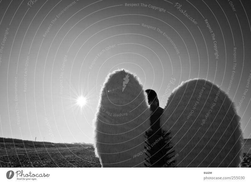 Engel Freiheit Strand Mensch maskulin Mann Erwachsene 1 Himmel Wolkenloser Himmel Horizont Flügel außergewöhnlich Hoffnung Glaube Religion & Glaube Schutzengel