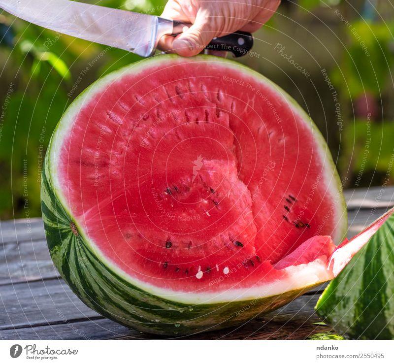reife große Wassermelone Frucht Ernährung Vegetarische Ernährung Diät Sommer Hand Natur frisch lecker natürlich saftig grün rot Farbe Messer Beeren geschnitten
