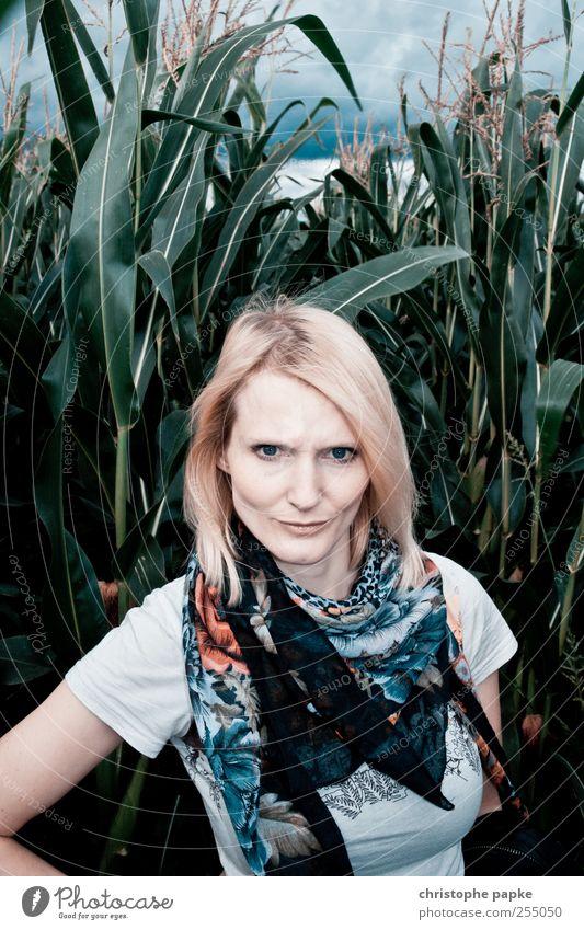 drüber... Mensch feminin Junge Frau Jugendliche 1 18-30 Jahre Erwachsene Natur Pflanze Sträucher Blatt Grünpflanze Nutzpflanze Feld Urwald Umwelt Umweltschutz