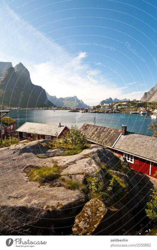 Kjerkfjorden, Reine Polarmeer Felsen Ferien & Urlaub & Reisen Fischer Fischerhütte Hafen Himmel Himmel (Jenseits) Holzhaus Hütte Insel Landschaft Lofoten