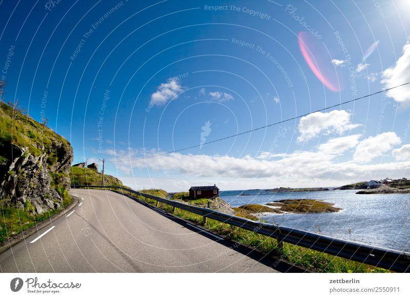 Kong Olavs veg Straße Verkehr E 10 Europastraße Reisefotografie Polarmeer Felsen Ferien & Urlaub & Reisen Himmel Himmel (Jenseits) Horizont Insel Landschaft