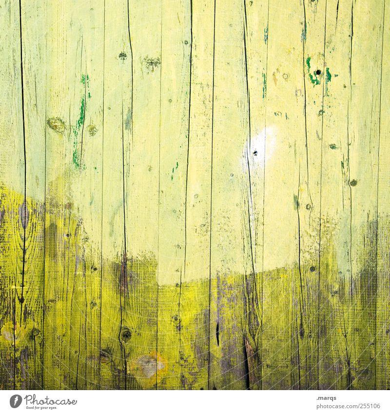 Gegen die Wand Stil Design Anstreicher Mauer Holz gelb grün Farbe Hintergrundbild Holzwand Außenaufnahme Nahaufnahme Strukturen & Formen Menschenleer