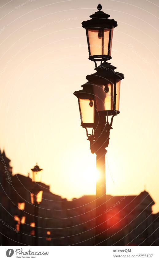 Wenn's an der Leuchte leuchtet. schön Sonne Ferien & Urlaub & Reisen ruhig Wärme Kunst Zufriedenheit ästhetisch Zukunft Hoffnung Romantik Idylle Laterne Schönes Wetter Straßenbeleuchtung blenden