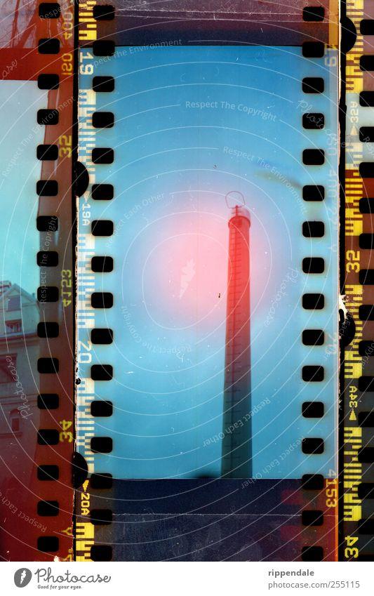 Industrie Schornstein Architektur hoch Klima Fotografie retro rund Industriefotografie Fabrik Panorama (Bildformat) Filmmaterial Handel analog Abgas