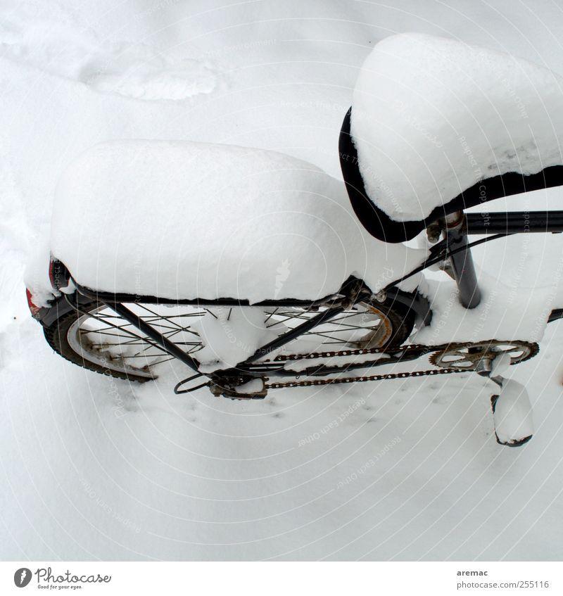 Schneemobil weiß Winter schwarz kalt Schnee Wetter Fahrrad Verkehrsmittel