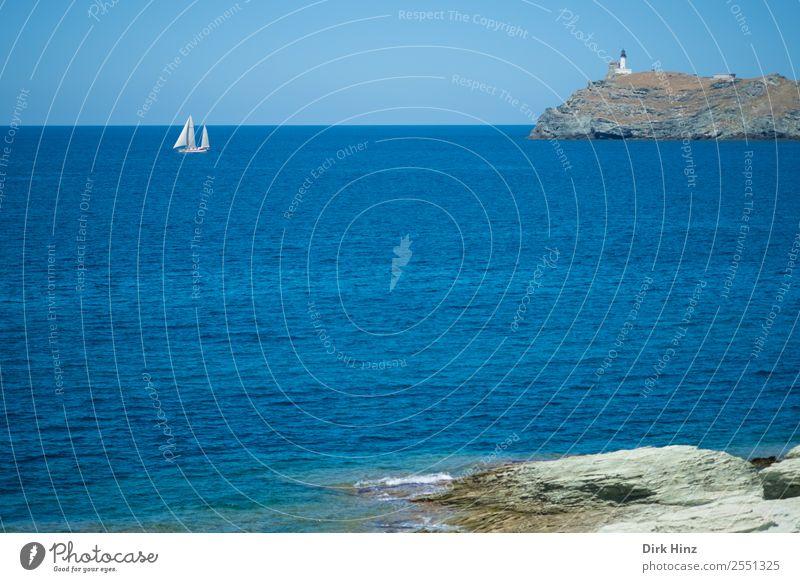 Segler am Cap Corse / Korsika Ferien & Urlaub & Reisen Tourismus Ausflug Ferne Freiheit Sommer Sommerurlaub Meer Insel Wellen Umwelt Natur Landschaft Wasser