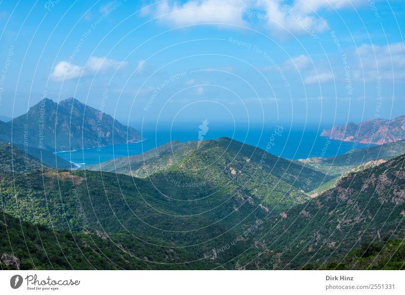 Küstenlandschaft auf Korsika Ferien & Urlaub & Reisen Tourismus Ausflug Ferne Freiheit Sightseeing Sommer Sommerurlaub Umwelt Natur Landschaft Wasser Himmel