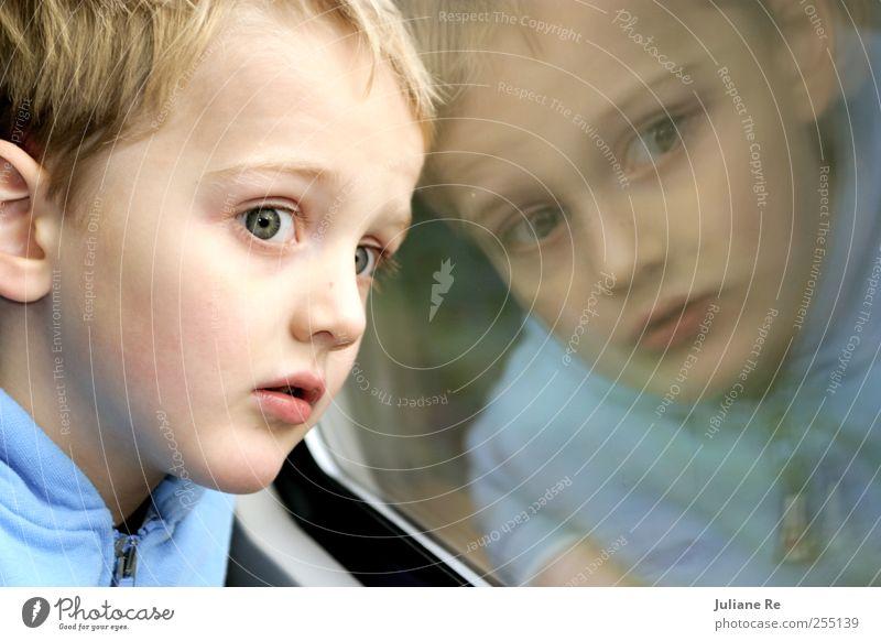 Kind | Zugfahrt II Mensch blau Ferien & Urlaub & Reisen Gesicht Ferne Erholung Junge Kopf träumen Kindheit blond Freizeit & Hobby Verkehr Abenteuer lernen