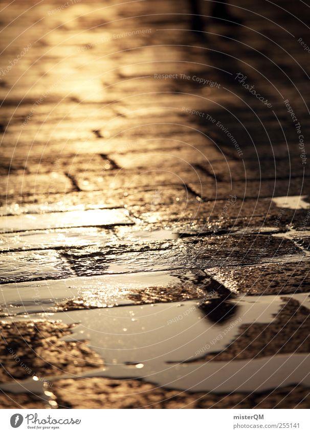 Tears of the Sun. Sonne ruhig Einsamkeit Straße Regen Kunst gold glänzend ästhetisch leer Hoffnung Bodenbelag Romantik Idylle Bürgersteig Fußweg