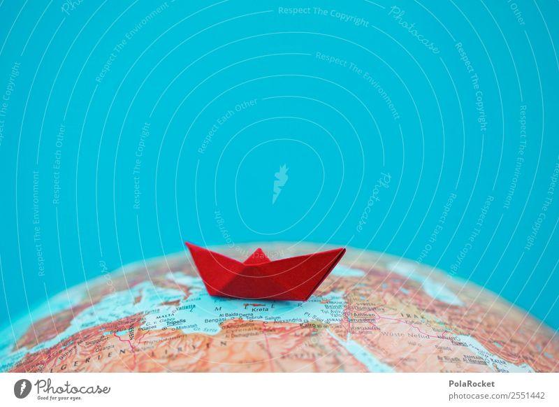 #AS# Schippern II Globus rot ästhetisch Flüchtlinge Wasserfahrzeug Papierschiff Mittelmeer Ferien & Urlaub & Reisen Kreuzfahrt Origami gefaltet Erde Tourismus