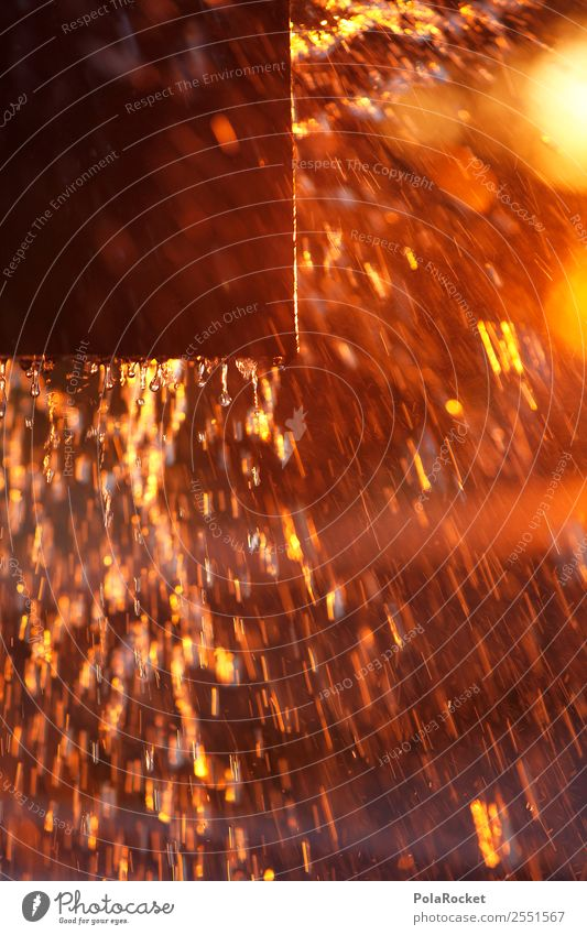 #A# Golden Square Kunst ästhetisch gold spritzen Sonnenuntergang Springbrunnen Wasser Wassertropfen Partikel abstrakt Farbfoto mehrfarbig Außenaufnahme