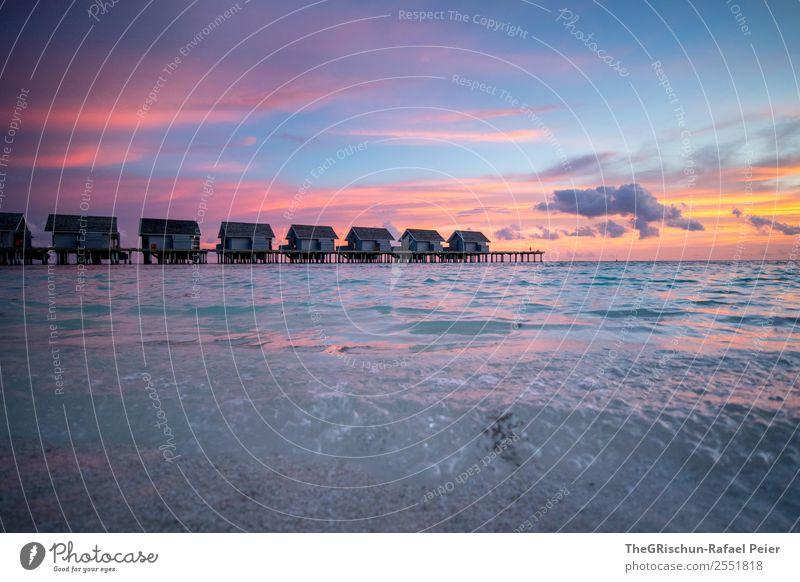 Stimmung Landschaft blau grau violett orange rosa weiß Wasser Meer Meerwasser Insel Paradies Malediven ruhig Erholung Haus Wolken Sonnenuntergang genießen