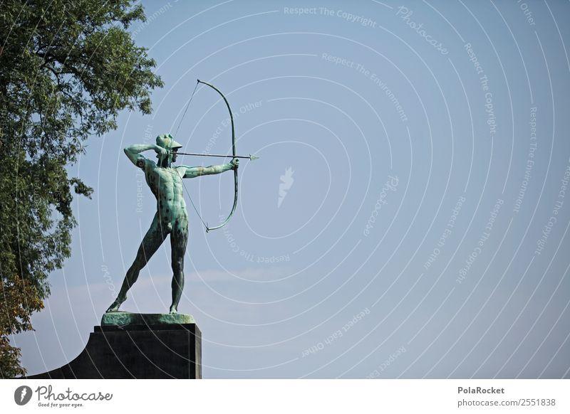 #A# Blauer Schütze Kunst ästhetisch Skulptur Bogenschütze Dresden Sehenswürdigkeit blau Blauer Himmel Bronze Bronzeskulptur Farbfoto Gedeckte Farben