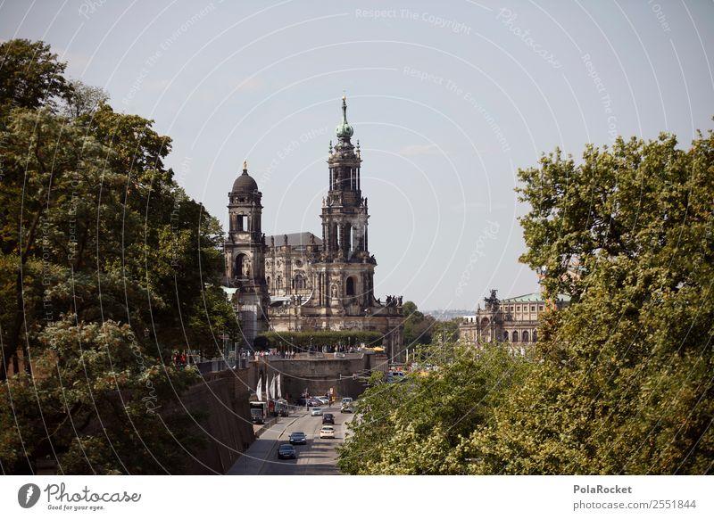 #A# Dresdner Durchblick Haus Religion & Glaube Brühlsche Terrasse Dresden Elbe Elbufer Hofkirche Dresden Barock Großstadt Sandstein Sachsen Farbfoto