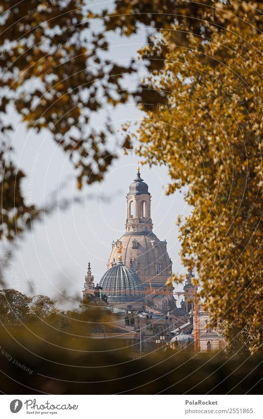 #A# Dame im Herbst Kirche ästhetisch Frauenkirche Kuppeldach Dresden Sehenswürdigkeit Wahrzeichen historisch Historische Bauten Städtereise Farbfoto mehrfarbig