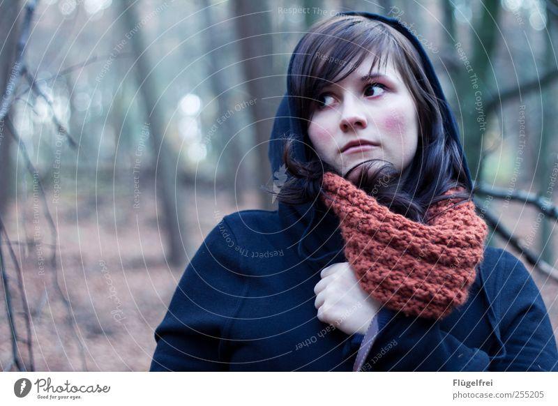 Ah, war doch nur eine Eule (ÒvÓ) feminin Junge Frau Jugendliche 1 Mensch Blick Wald Märchen unheimlich Einsamkeit skeptisch unsicher Schal Haare & Frisuren Baum