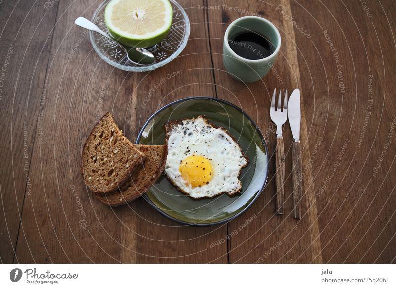 zeit für frühstück Lebensmittel Frucht Brot Spiegelei Ernährung Frühstück Bioprodukte Getränk Heißgetränk Kaffee Geschirr Teller Schalen & Schüsseln Tasse