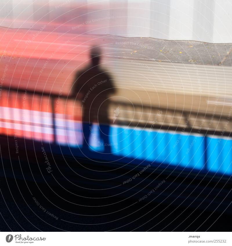 Anonymous Lifestyle Stil Mensch 1 Zeichen stehen warten außergewöhnlich Coolness blau rot schwarz Identität einzigartig Selbstständigkeit Wandel & Veränderung