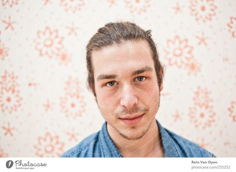 Blumenporträt Mensch maskulin Junger Mann Jugendliche Erwachsene Kopf 1 18-30 Jahre Mode Hemd Haare & Frisuren schwarzhaarig brünett langhaarig Bart