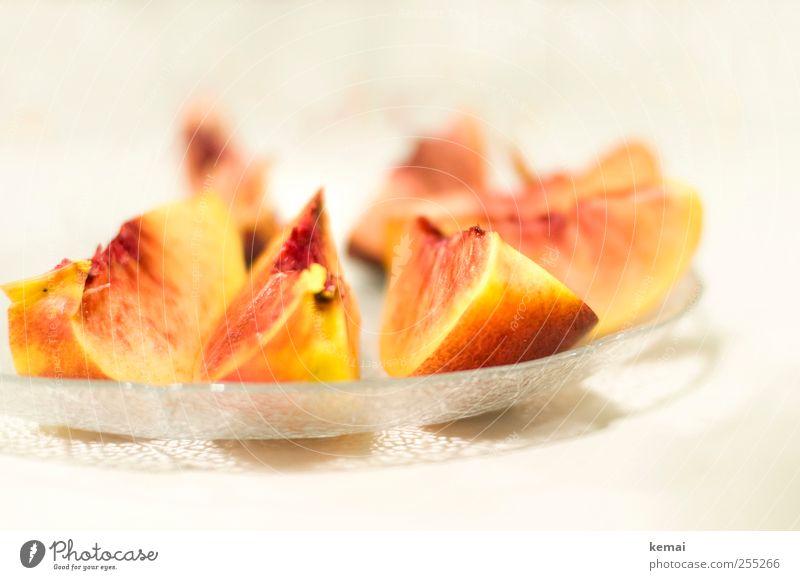 Vitamine Lebensmittel Frucht Nektarine Ernährung Picknick Bioprodukte Vegetarische Ernährung Diät Slowfood Snack Teller Schalen & Schüsseln Glasschale