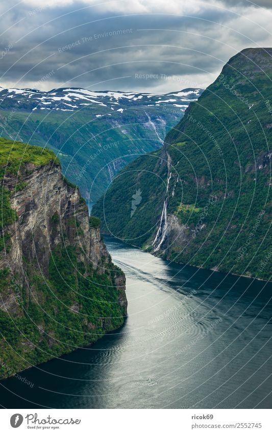 Blick auf den Geirangerfjord in Norwegen Erholung Ferien & Urlaub & Reisen Tourismus Kreuzfahrt Berge u. Gebirge Natur Landschaft Wasser Wolken Baum Felsen