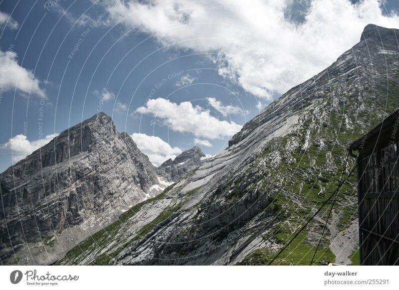 Watzman Family Landschaft Himmel Wolken Sommer Schönes Wetter Schnee Gras Felsen Alpen Berge u. Gebirge Gipfel Bekanntheit hoch blau grün silber weiß