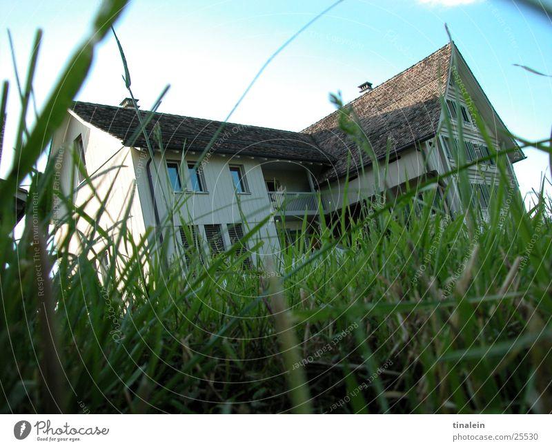 Schweizer Landidyll Natur Himmel grün Haus Wiese Gras Architektur Perspektive Schweiz Bauernhof Amerika