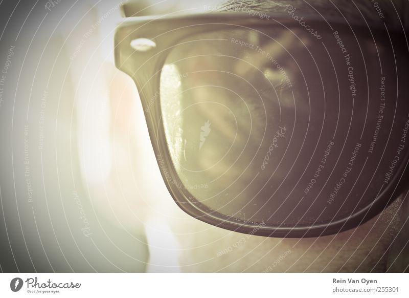 Sonnenbrille Mensch maskulin Mann Erwachsene Auge 1 selbstbewußt Coolness Brillenträger Sonnenlicht Sommer Sommerurlaub Typ schwarz Gesichtsausschnitt