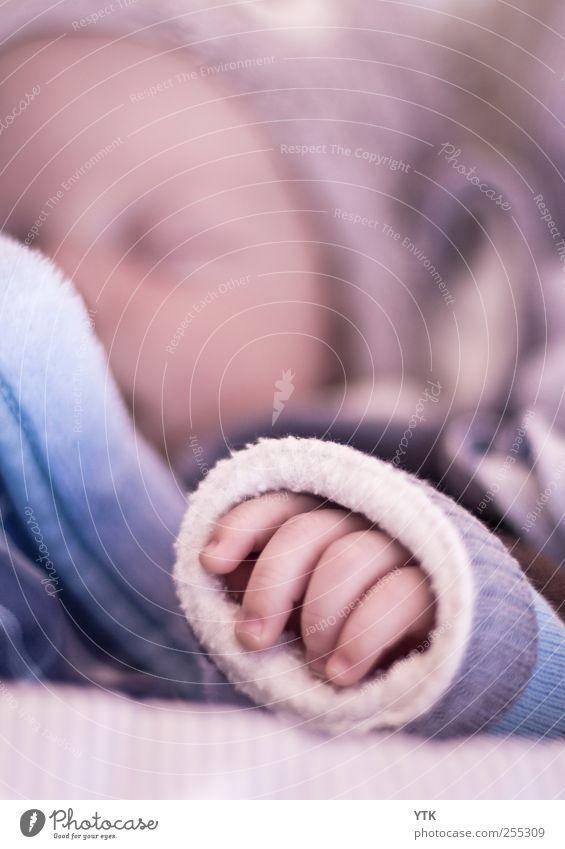 Greifbar nah Mensch Kind Baby Kleinkind Kindheit Kopf Gesicht Hand Finger 1 0-12 Monate schlafen Babywäsche babyblau Decke weich Wärme zart labil träumen