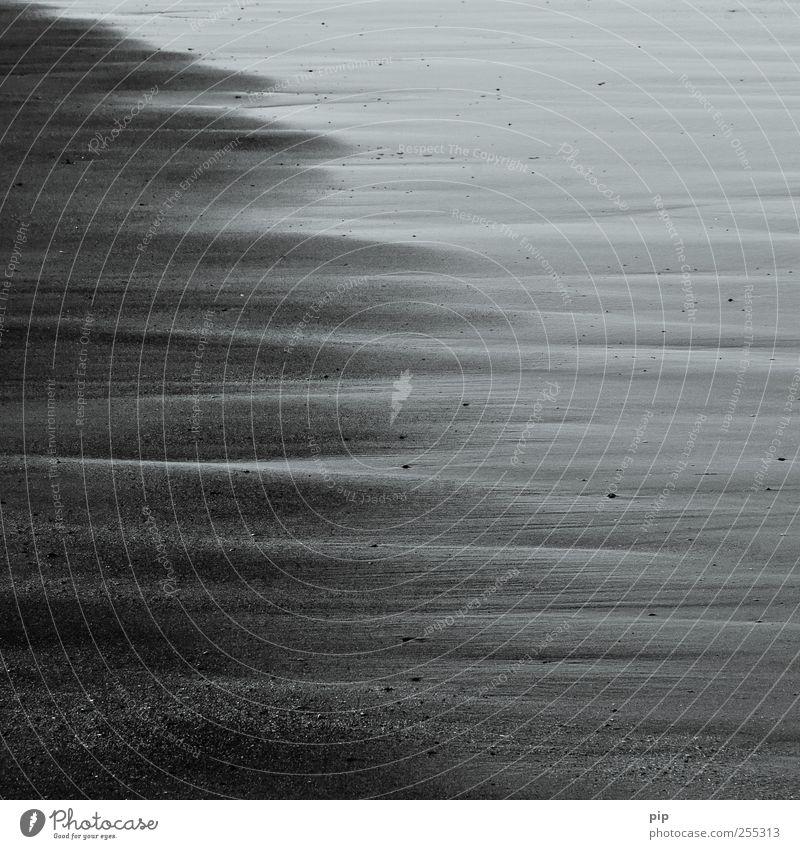 grauzone Sand Wasser Küste Meer Surrealismus Streifen feucht nass trocken Ebbe seicht Strand Nordsee Schwarzweißfoto Außenaufnahme Detailaufnahme abstrakt