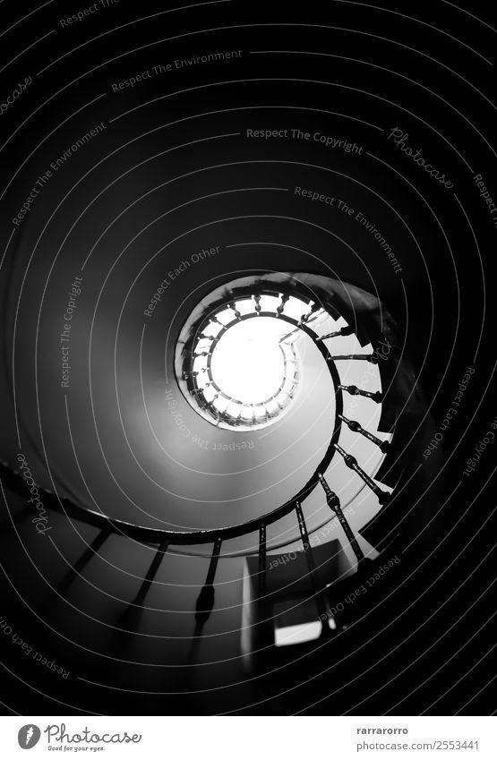 Schwarz-weiße Wendeltreppe Design Haus Klettern Bergsteigen Gesäß Kunst Architektur Stadt Altstadt Gebäude Treppe Metall alt Unendlichkeit modern schwarz
