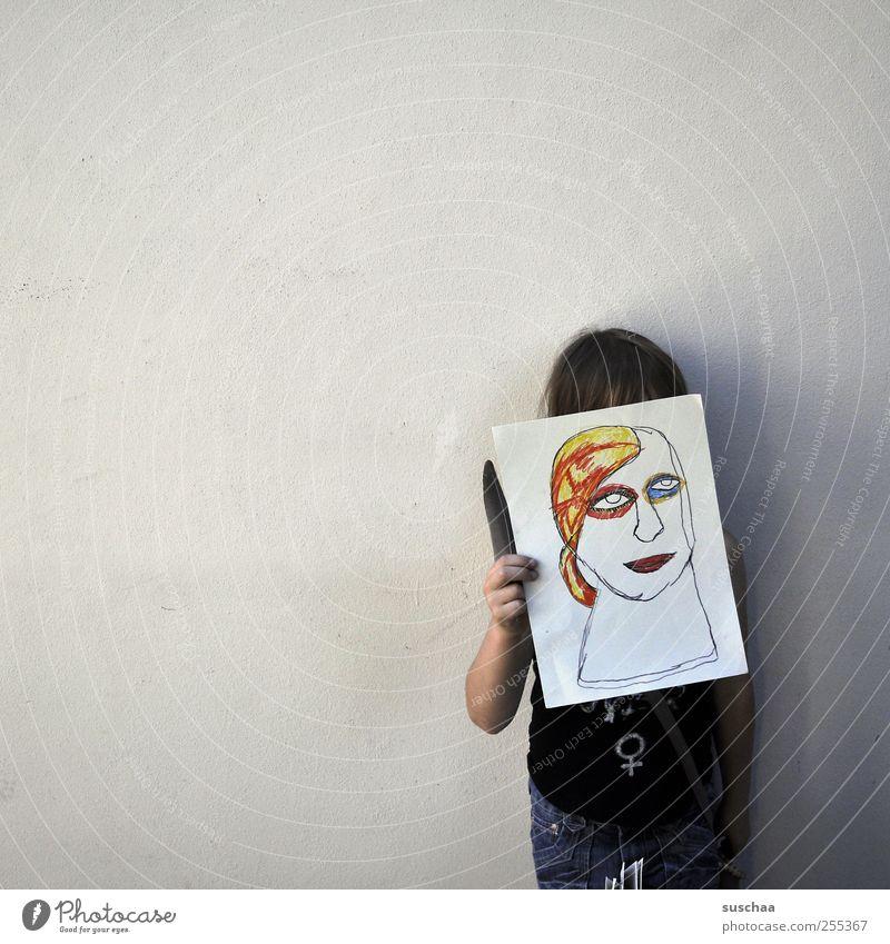 Für Dich soll's bunte Bilder regnen. Mensch Kind Hand Mädchen Gesicht feminin Kopf Kunst Kindheit Finger Gemälde Künstler Kunstwerk 3-8 Jahre Kultur