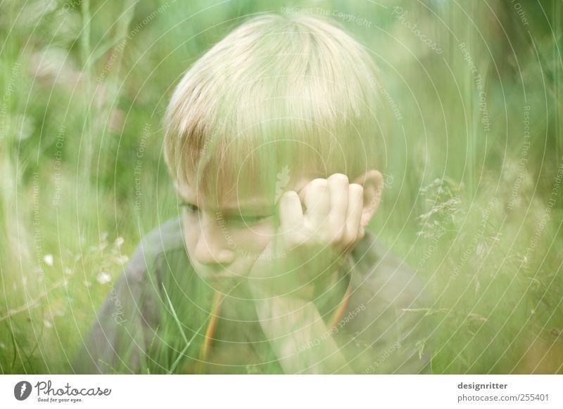 Für dich soll´s bunte Bilder regnen! Mensch Einsamkeit Wiese Junge Gras Garten Traurigkeit Kindheit blond Trauer Wut verstecken Langeweile Ärger Frustration